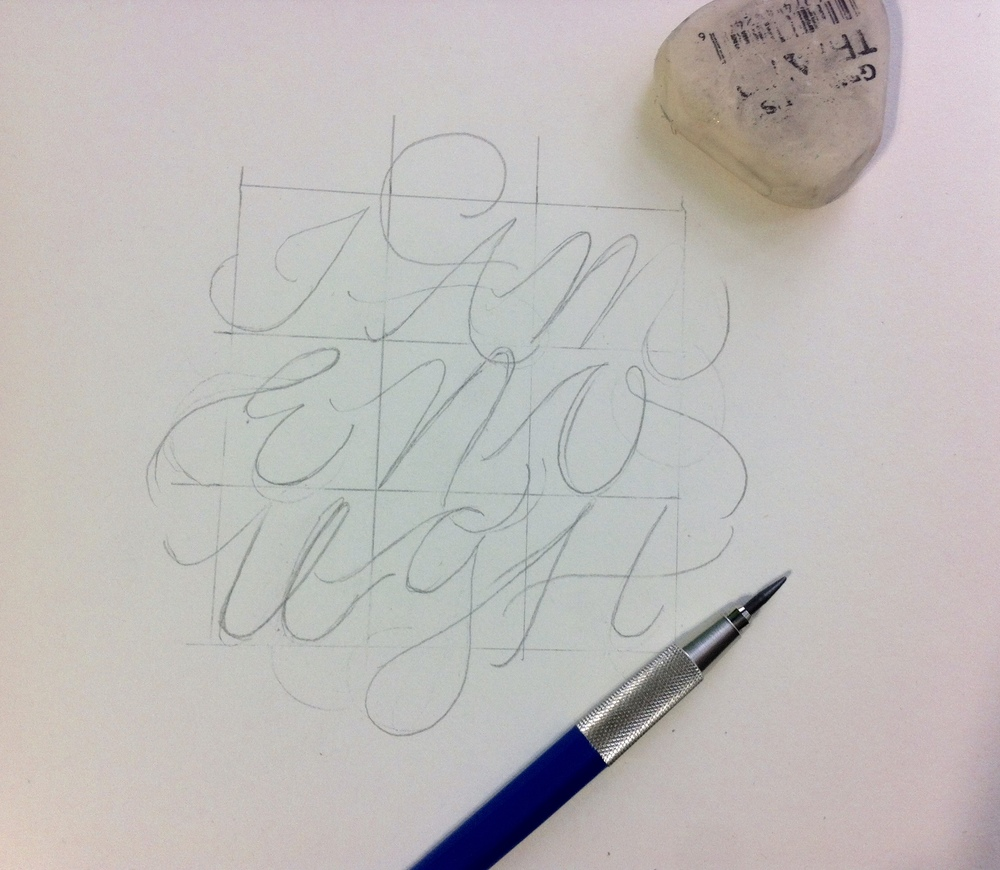 Hand Lettering: Rough Concept Sketch of I Am Enough Design.