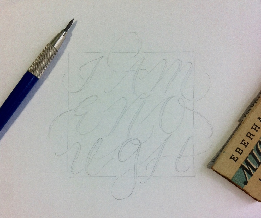 Hand Lettering: Refined Pencil Sketch of Lettering Design.