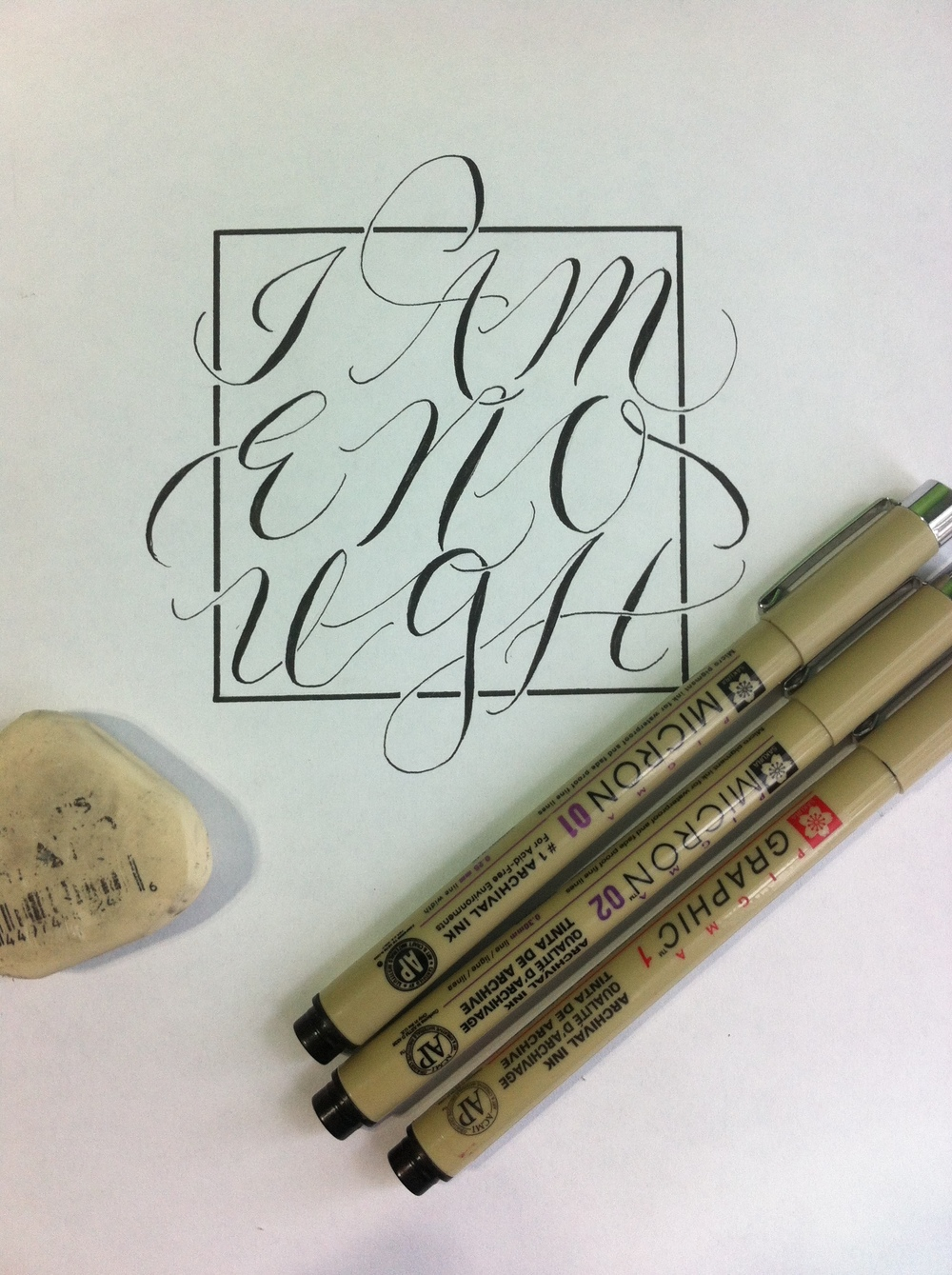 Hand Lettering: Refined, Inked Sketch, Ready to Enter the Digital Realm.