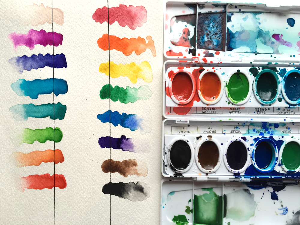 Color swatches from a Prang Professional Watercolor Set. Vibrant colors, are fairly opaque and don't blend as nicely.