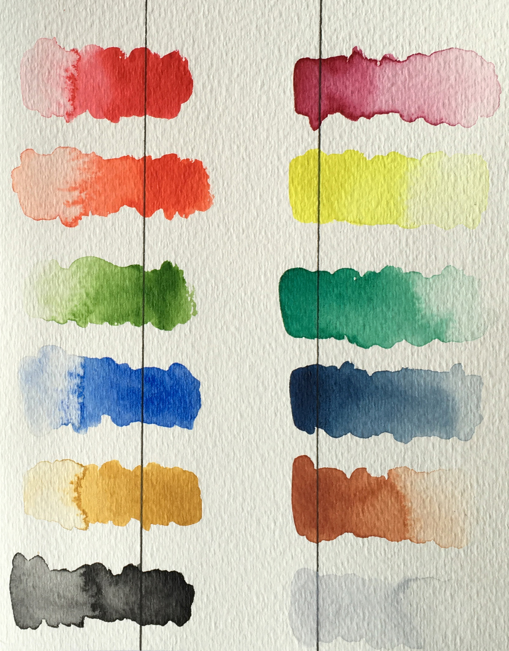 Color swatches from a Gansai Tambi Watercolor Set, nicely transparent, and blend easily.