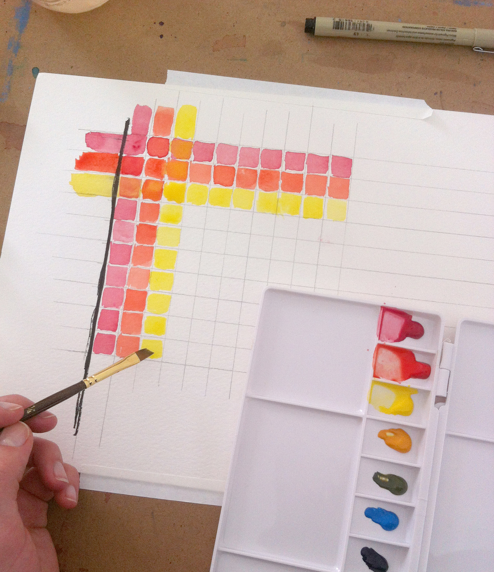 Charting a new set of watercolors.