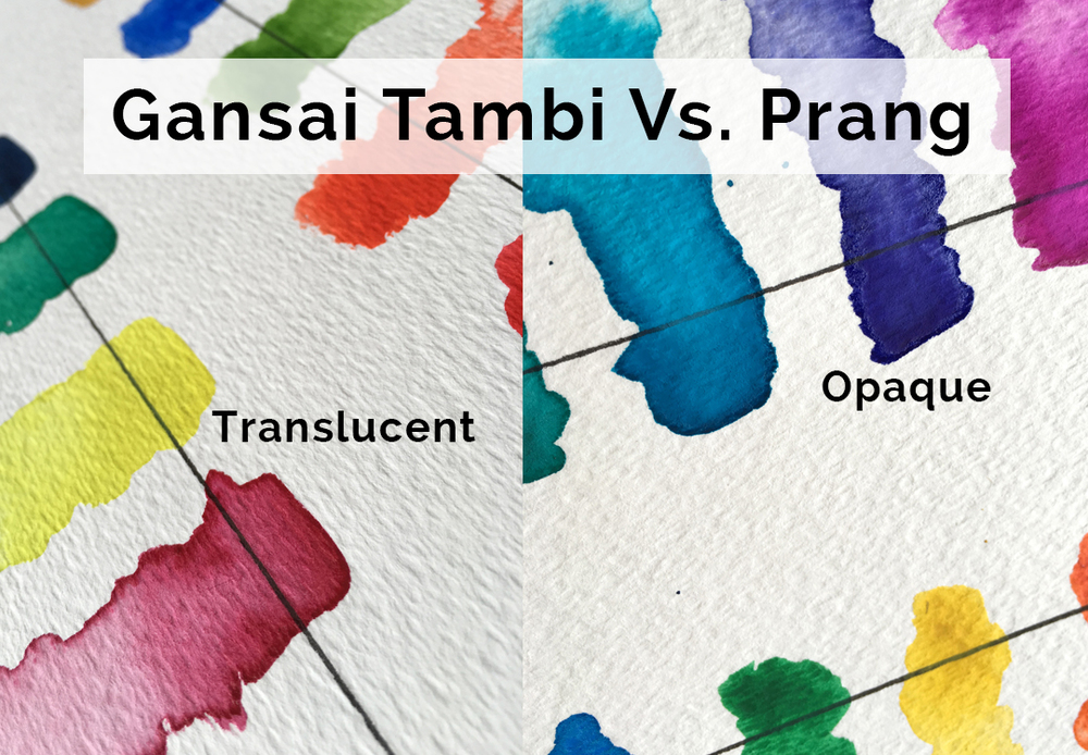 Colors by Gansai Tambi on left are far more transparent than the Prang watercolors on the right.