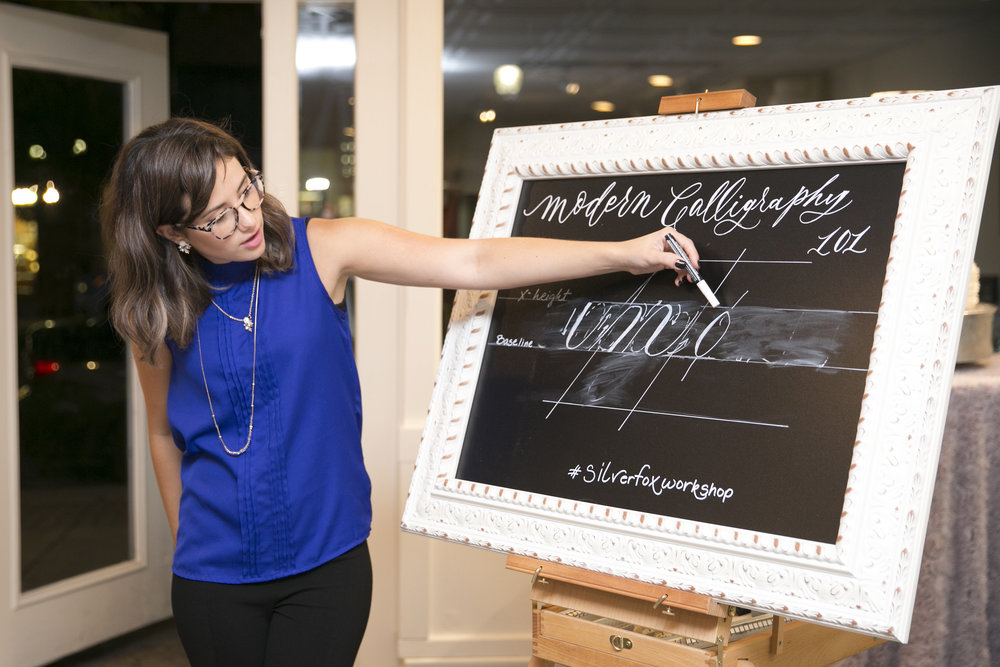 Ciarra Rouwhorst teaching at Silver Fox Calligraphy's Modern Calligraphy Workshop in Petoskey, Michigan