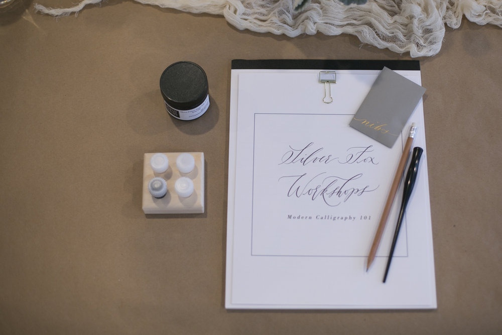 Beginner Modern Calligraphy tools for Silver Fox Calligraphy's Modern Calligraphy Workshop in Petoskey, Michigan
