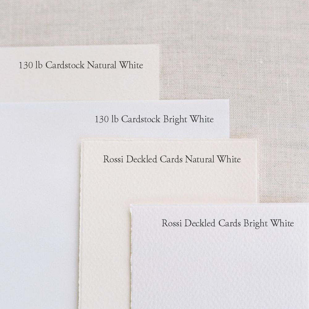 Paper colors for semi-custom invitation suites.