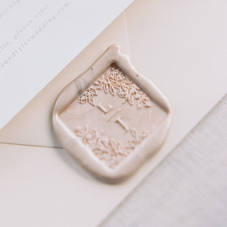 Floral Monogram Wax Seals for wedding invitations.