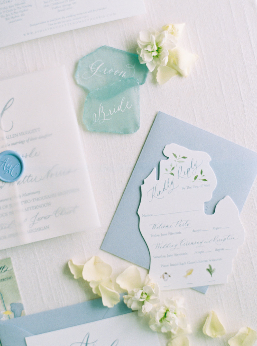 Custom die cut Michigan RSVP Card with watercolor elements and calligraphy.