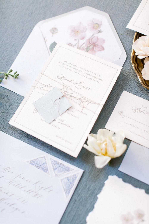 Semi-custom wedding invitations for dusty blue styled shoot.