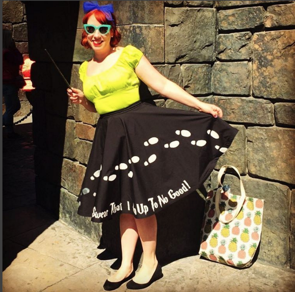 If you're going to do Harry Potter at Universal what better way to do it than in a custom made Marauder's Map skirt!