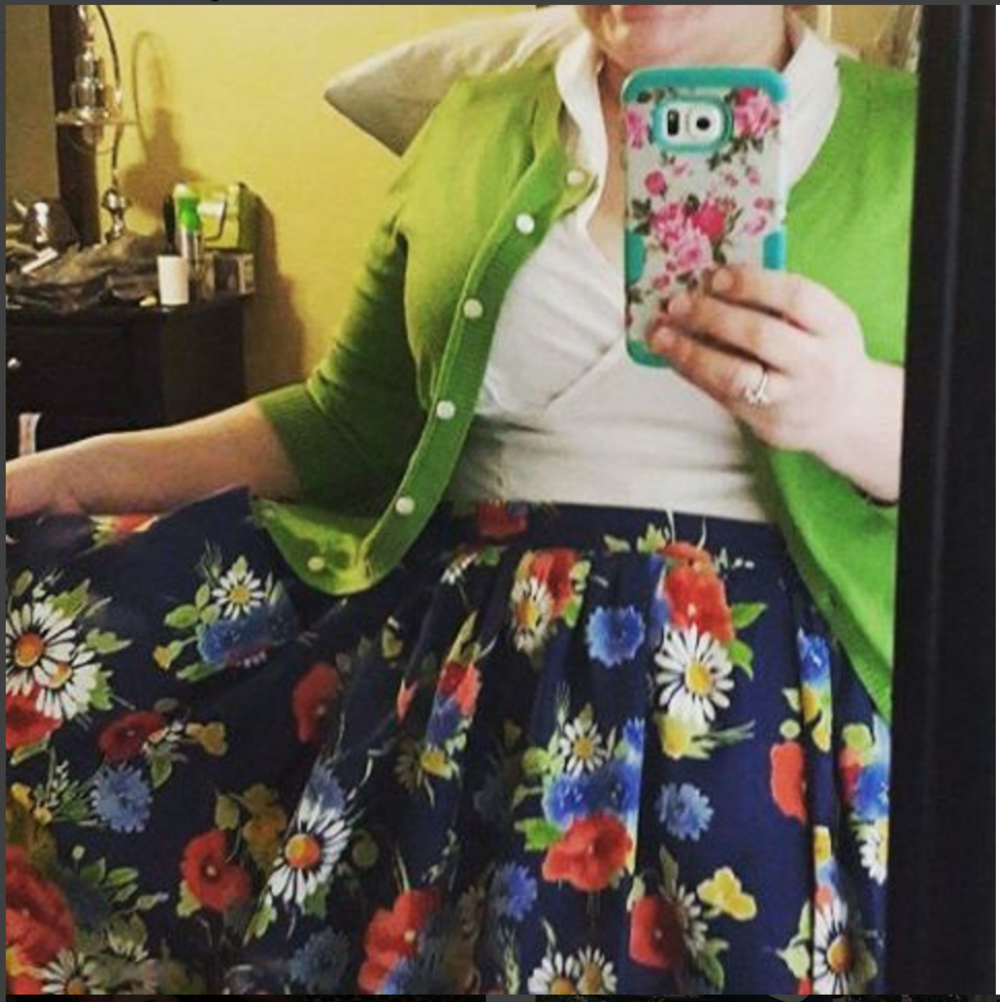 Style Child is looking fabulously stylish in her Hippolyta's Garden skirt!