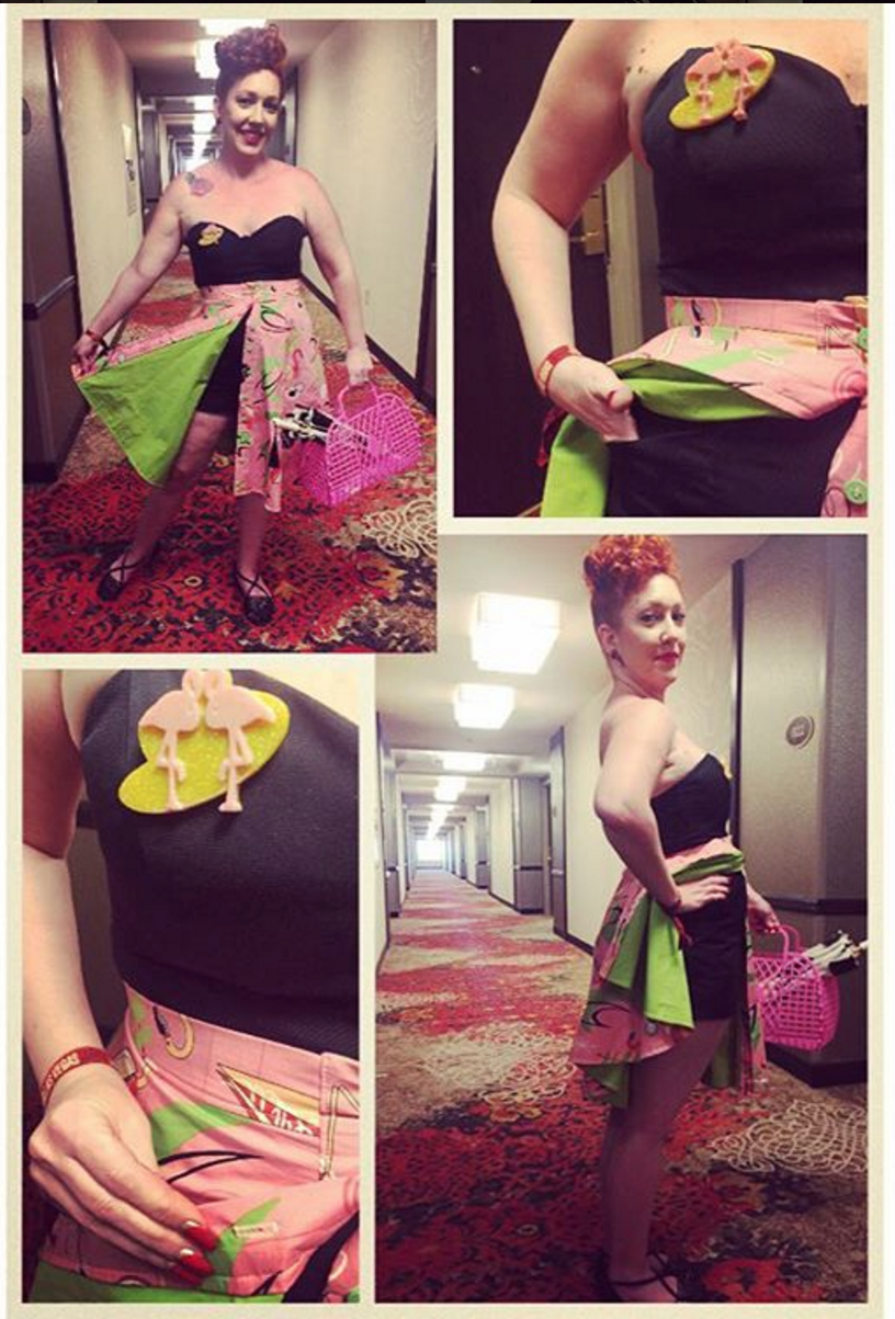 Looking to stand out at the Viva Las Vegas pool party?  Take a note from Jael and commission a fabulous flamingo skirt!