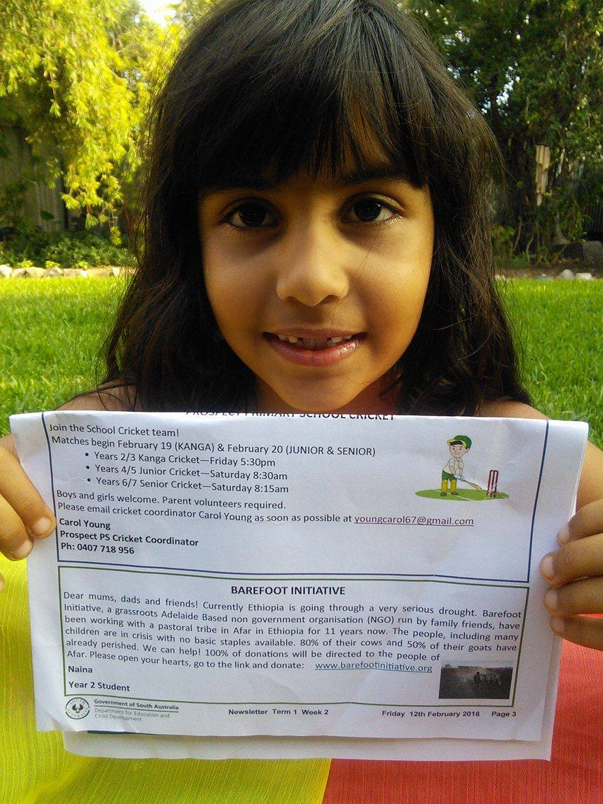 Year 2 student Naina with her letter published in her school newsletter