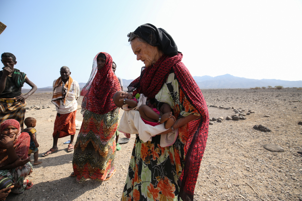 Valerie Browning in Afar region with APDA delivering emergency drought relief activities in March 2016