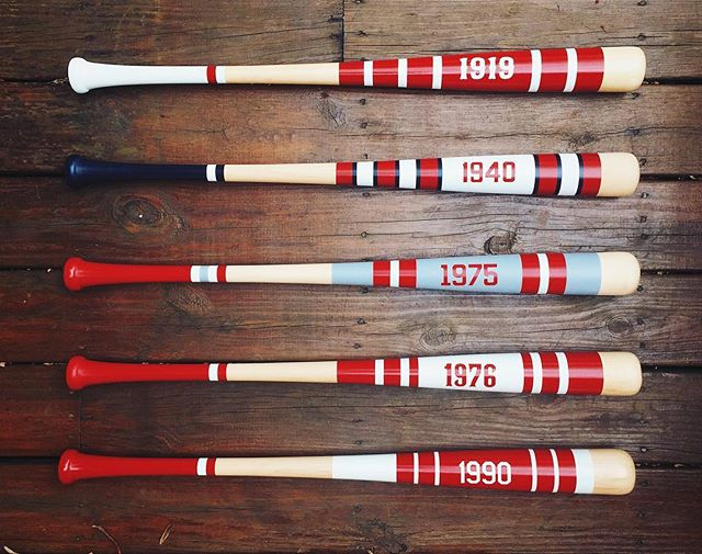 The newly designed Cincinnati Championship Mitchell bats will be on display and available for purchase starting next Saturday at the #199c event hosted by @theBLDG in Cincinnati (Covington, KY). The celebration starts at 6pm until the cops show up or 10pm. Whichever comes first.