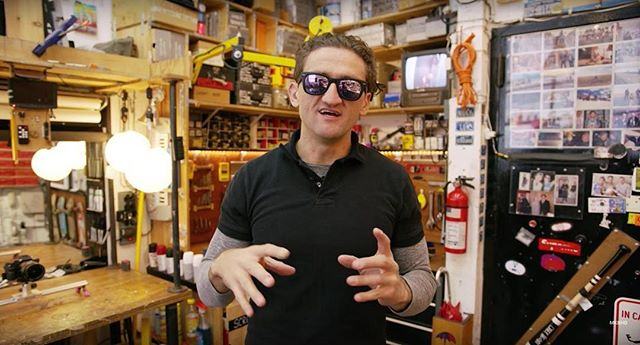 Happy to see that @caseyneistat is posting videos more often. Stoked about having a Mitchell bat hanging on his door in his studio.