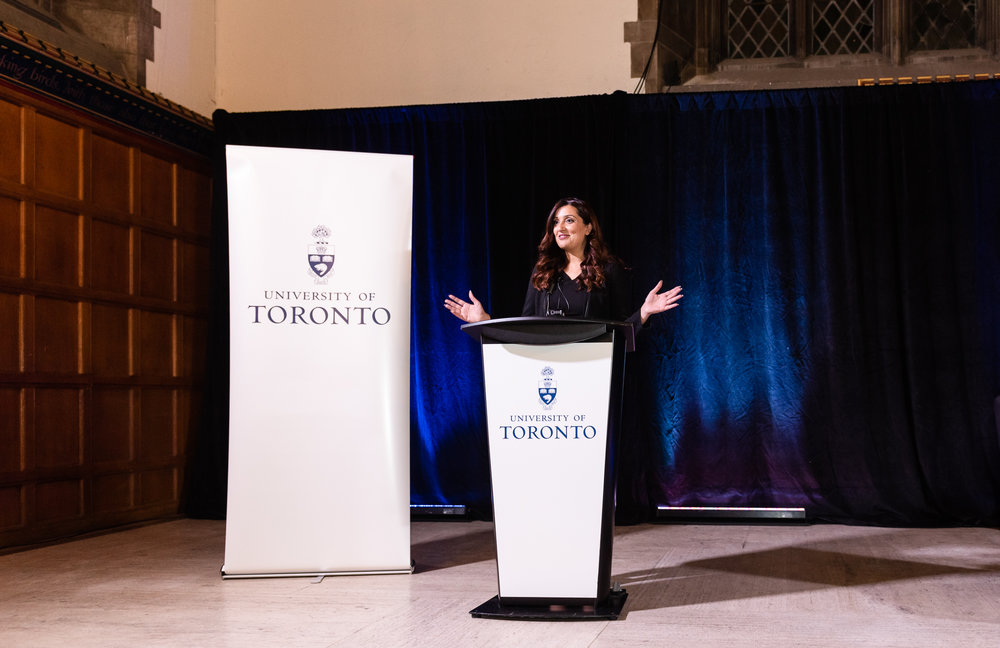 Samra Zafar gives a lecture as apart of the University of Toronto Alumni lecture series, in the Hart House Great Hall, on November 7th, 2018.