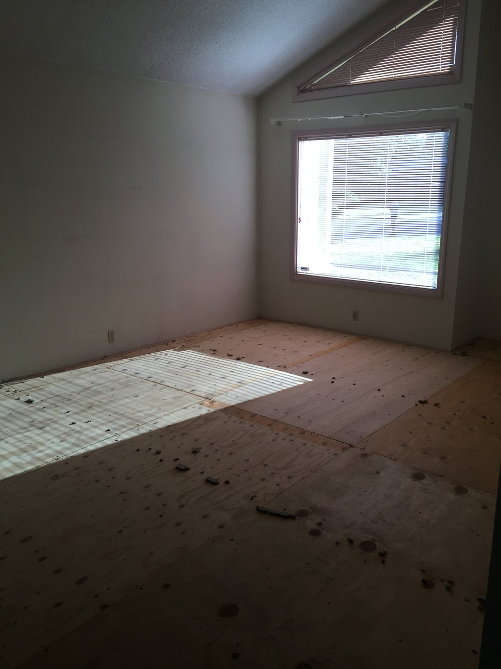 View of the living room with the tile floor removed.  Surprise, surprise this room had a sub floor, underneath is a retro sunken living room!