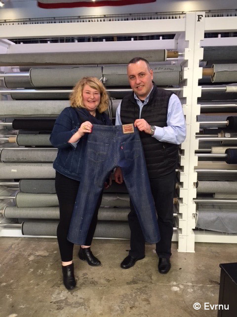 Stacy Flynn and Christopher Stanev, Evrnu founders with their first prototype, Levi's (R) 511 Jean