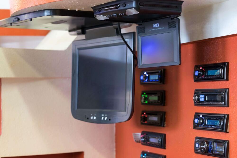 Flipdown Car video player at Audiosport Escondido.