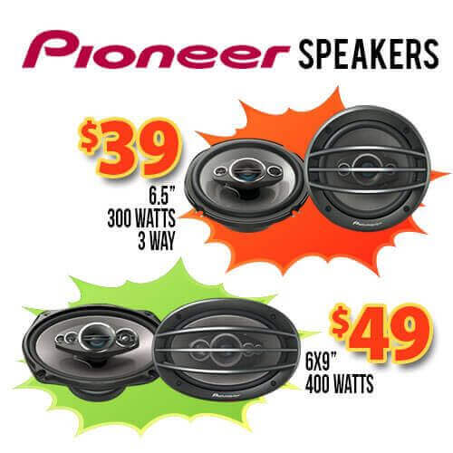 Pioneer speakers and stereo system.