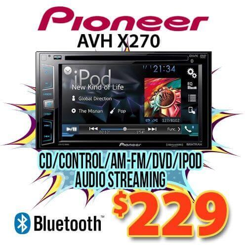 Specials on car video players and DVD monitors.