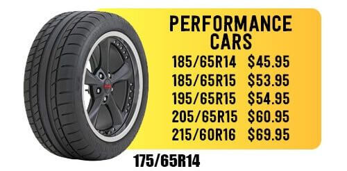 Cheap performance car tires in Escondido.