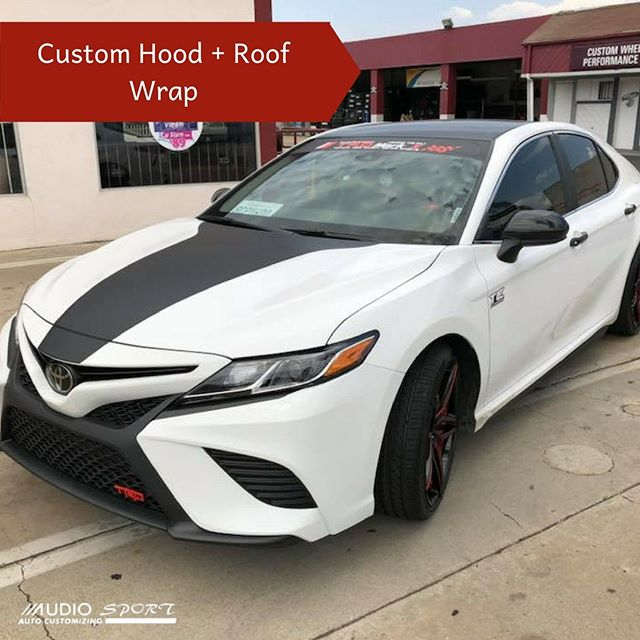 This Camry just got a MAJOR upgrade. Window tinting ✅ Custom paint on wheels + tires ✅ Hood + roof wrap ✅  All done at Audiosport in Escondido!