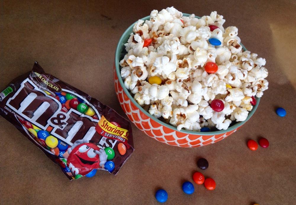 m&m popcorn