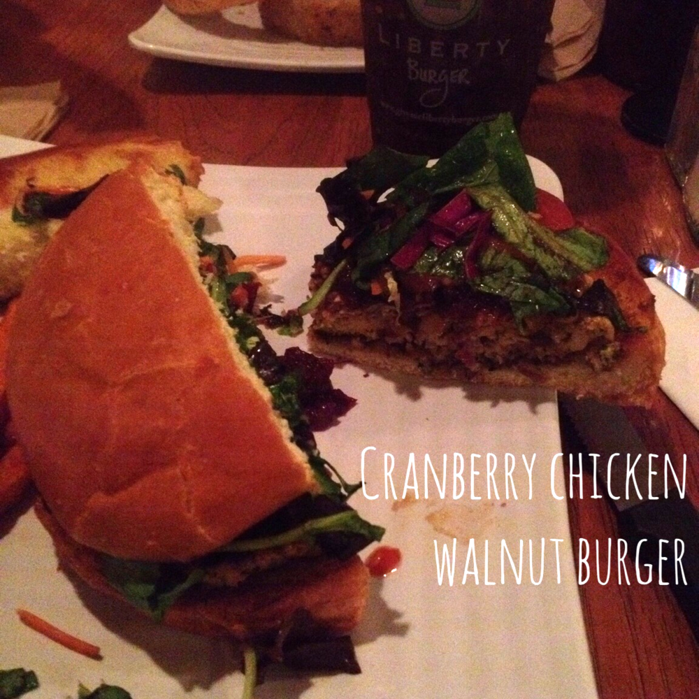 Cranberry chicken walnut burger from Liberty burger
