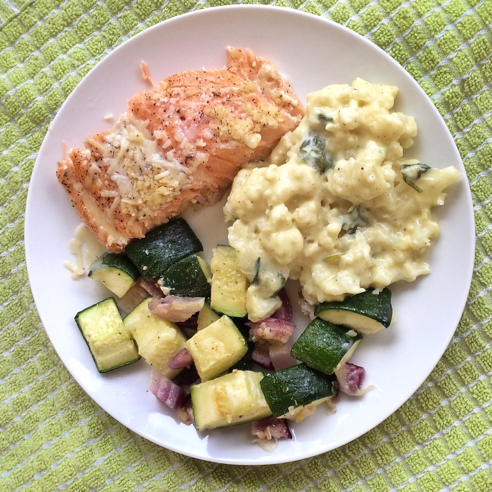 TOMT2- slow baked salmon, zucchini and red onion, cauliflower mac-n-cheese
