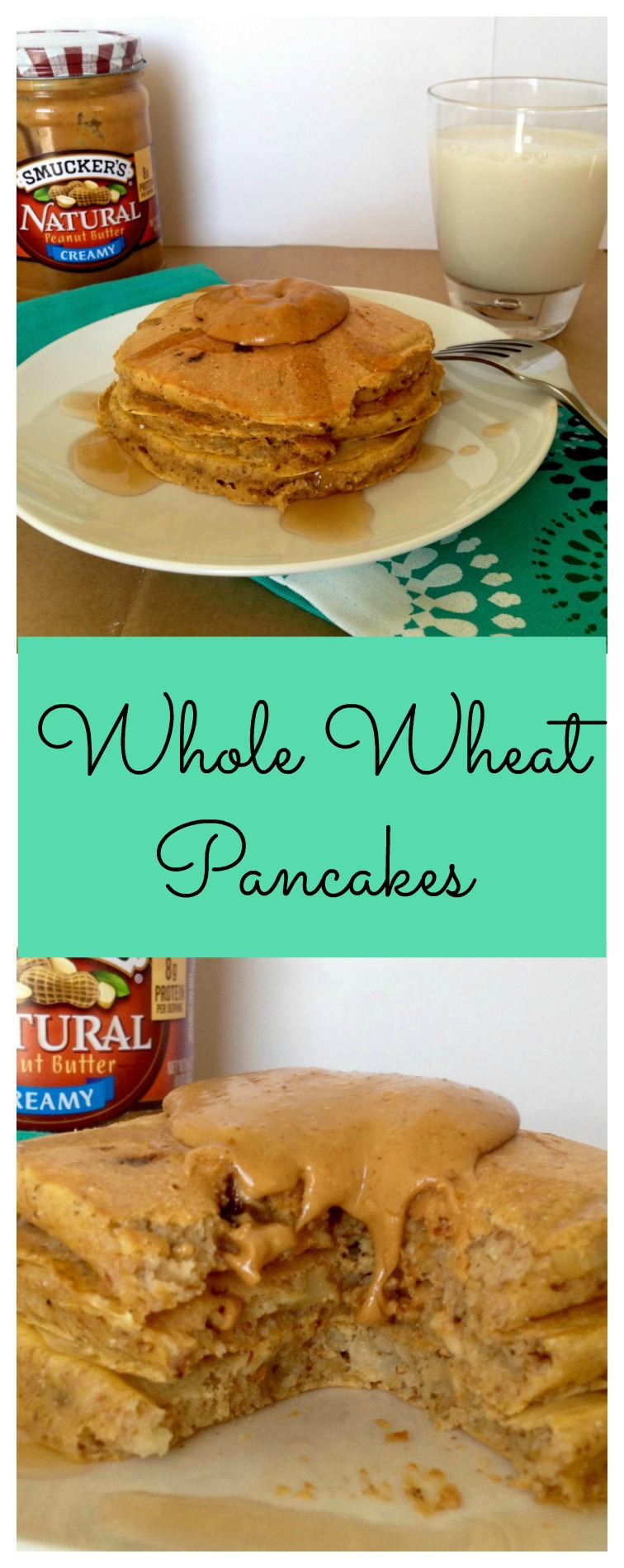 Whole wheat pancakes filled with ingredients you can feel good about: wheat flour, oats, greek yogurt, flax, etc