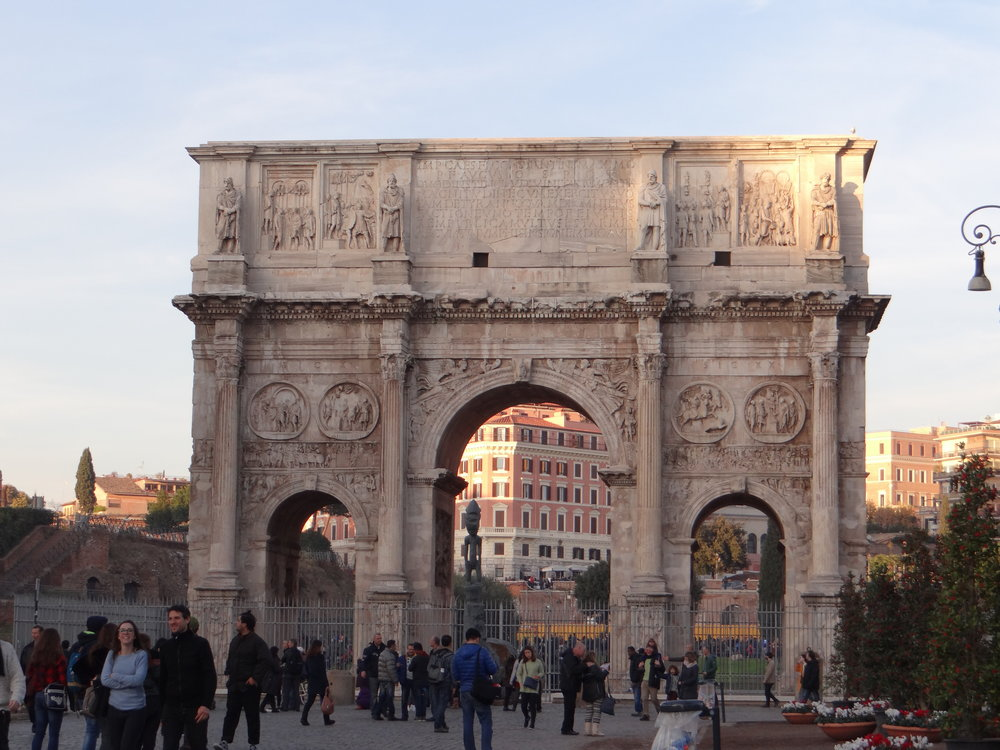 The arch of Constantine right by the Colosseum. Thanks Rick Steves for telling us the history behind it, and thank you whoever left your city map on the rock we were sitting while we listened to it. That map saved us!