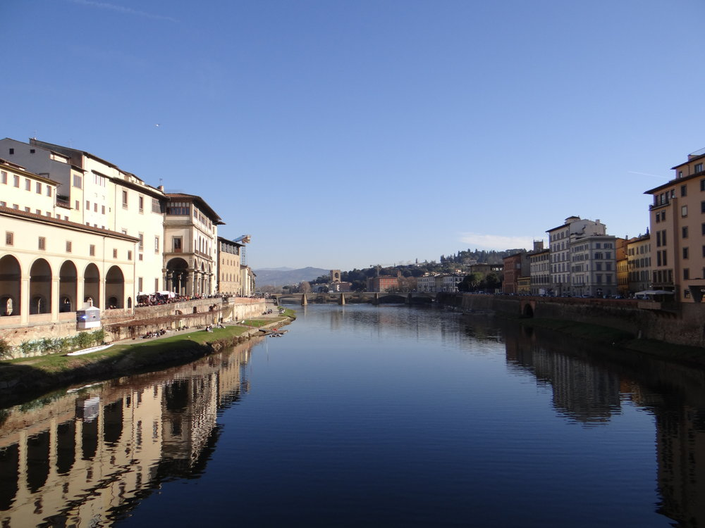 The view from Ponte Vecchio, the famous bridge in Florence.
