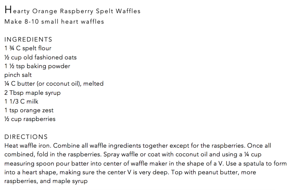Hearty orange raspberry spelt flour waffle recipe--vegan if using coconut oil and plant-based milk