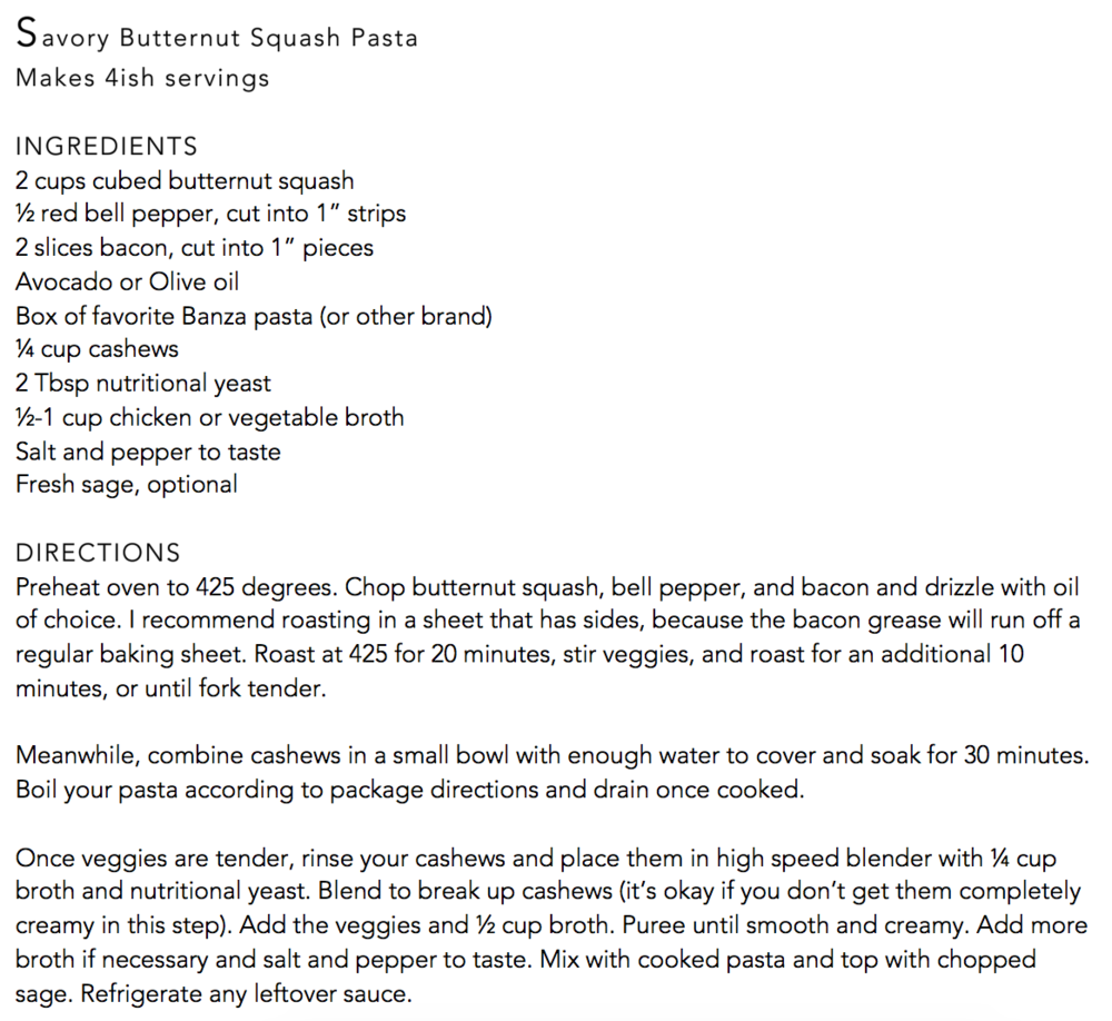Savory butternut squash pasta