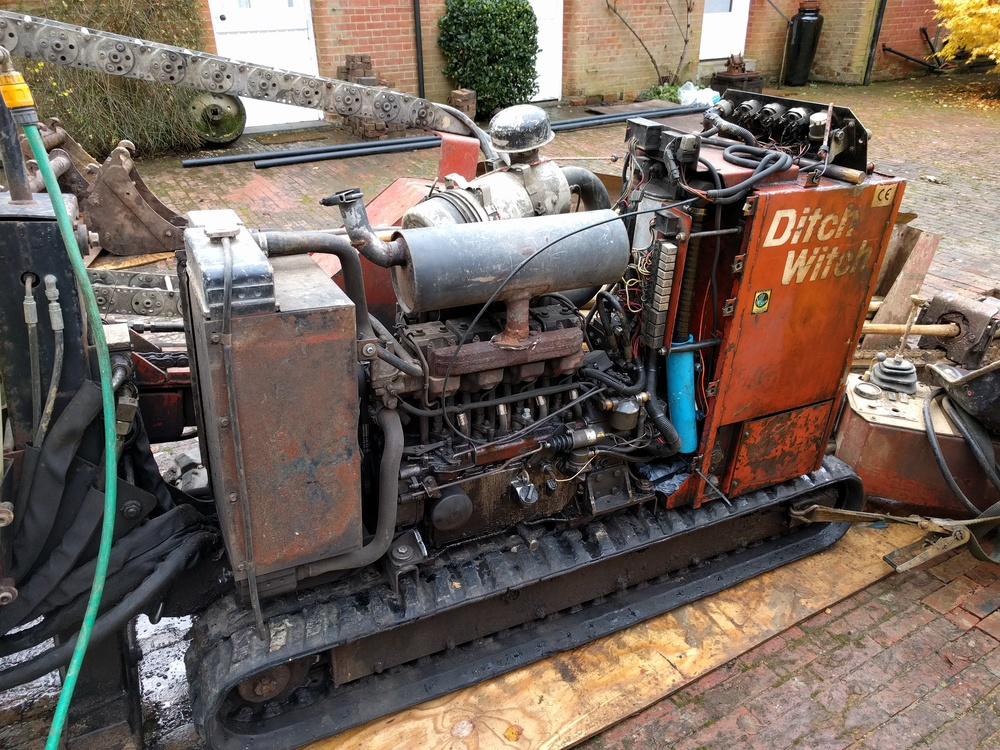This is one of the best bits of machinery i've ever seen; a kind of tank crossed with an old Massey Ferguson, it bored a hole from the Still House to the biodigester meaning the handsome victorian brick courtyard could lie undisturbed.