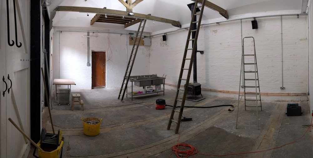 Well we're getting there now! Painted, plumbed in, electrics starting to go in... A good old clean is needed though.
