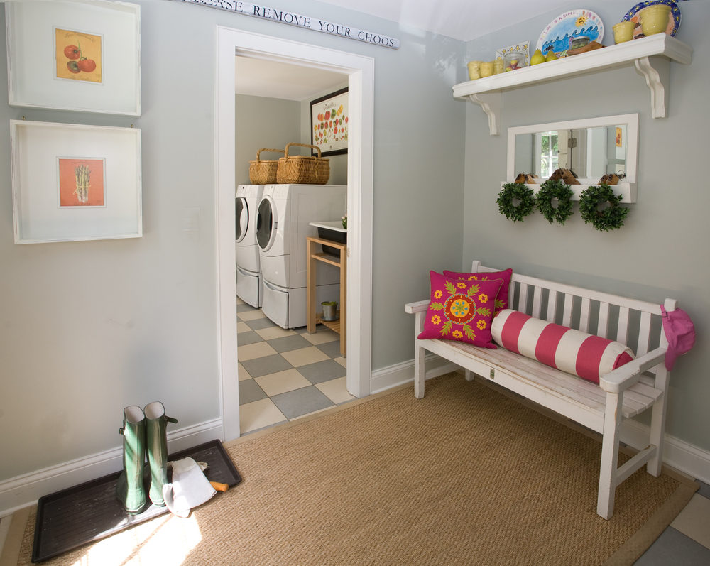 Cheery Mudroom Design by Dawn P. Gepfert Design Southport CT