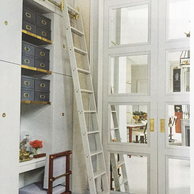 I love any reason to use a rolling library ladder... They are so functional. Great feature in House Beautiful of a small but highly functional NYC apartment. . . . . .  #interiordecor #interiordecoration #interiordesignideas #interiorarchitecture #elledecor #homes #dreamhome #exteriordesign #residentialdesign #beautifulhomes #renovations #remodeling #kitchendesign #homeideas #nycinteriordesign #homeowners #homeownership #fairfieldcountyct #westchestercountyrealestate #nycliving #interiordesignlovers #homelovers #womeninfinance #womeninbusiness #womenintech #realtors #realtorslife #gardenlovers #designlovers #homeandgarden