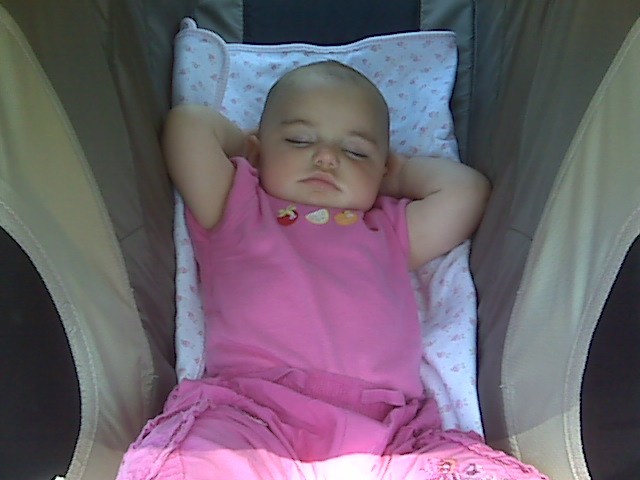 Sure, she sleeps OK in the stroller.
