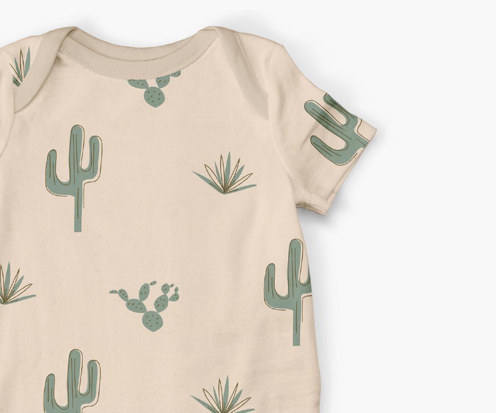 cactus pattern onesie design