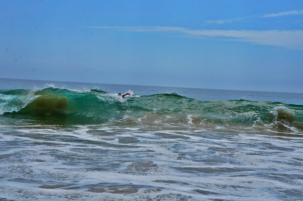 The waves on the beach of Crystal Cove State Park are perfect for body surfing.