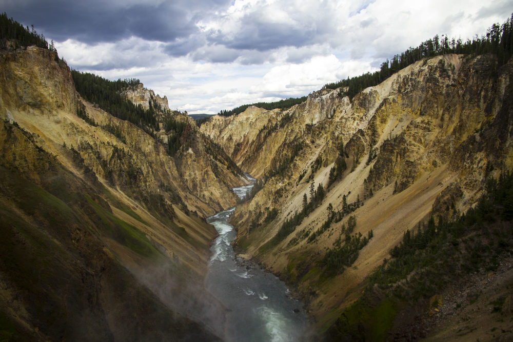 The incredibly breathtaking  Lower Falls and Grand Canyon of Yellowstone .  Literally jaw dropping.