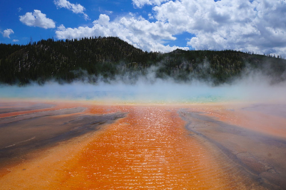 Grand Prismatic Spring , t he largest hot spring in the U.S. and the third largest in the world, its colours and size will blow your mind.