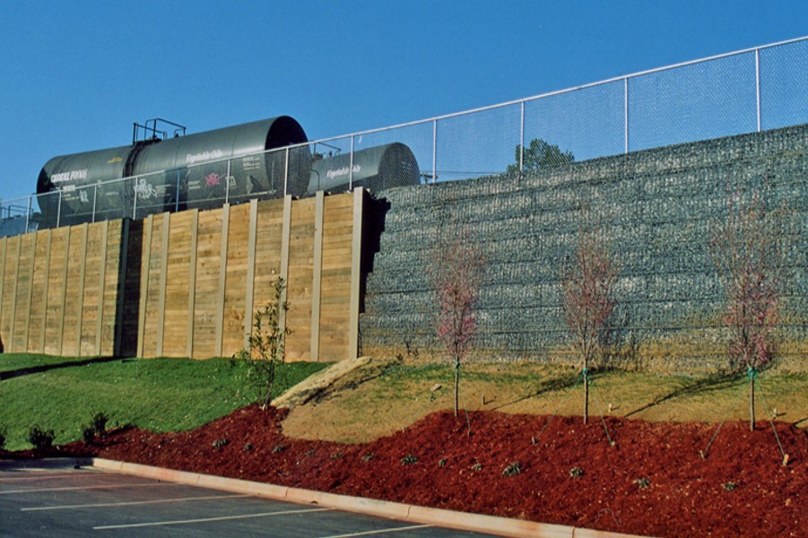 Soldier Pile Retaining Wall & MSE Wire Face Retaining Wall