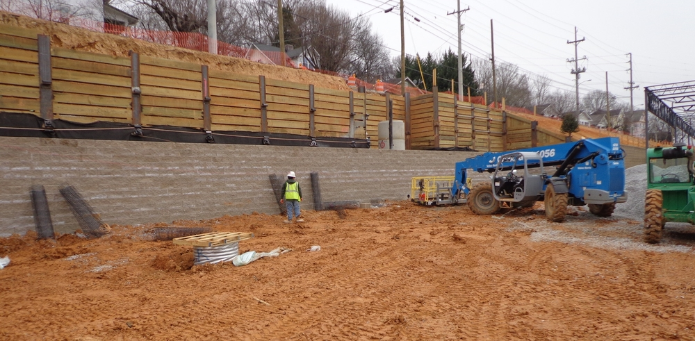 Soldier Pile Retaining Wall with Segmental Block Facing