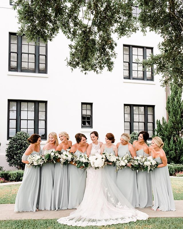 Working on proposals this week — we love planning the details of the bridal party's florals. After looking at swatches, dress styles, and ribbons, creating mood boards and sketches, seeing all these bouquets in a row feels 💯! Photography: @jkdallimore  Venue: @whitehousebiloxi
