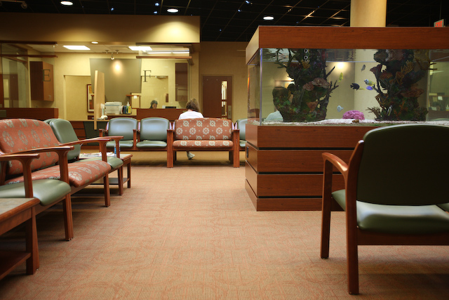 Though the waiting area is shared, each physician has their own exam room center.