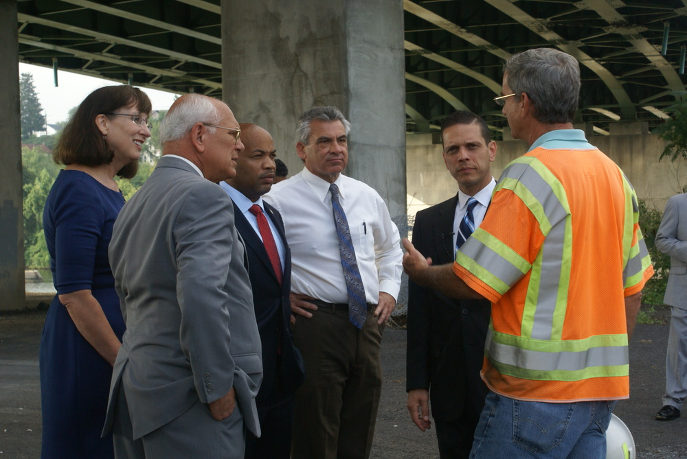Assemblyman Angelo Santabarbara joins local officials in Amsterdam to bring Speaker Carl Heastie on a tour of Mohawk Valley Gateway Overlook project.